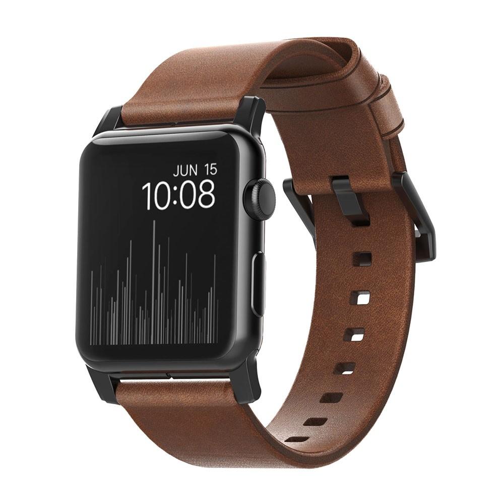 Купить Кожаный ремешок Nomad Modern Strap Black Hardware Brown для Apple Watch 42mm   44mm SE   6   5   4   3   2   1