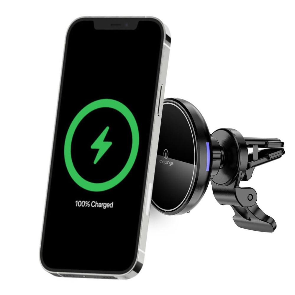 Магнитный автодержатель с беспроводной зарядкой oneLounge 1Mag MagSafe для iPhone 12