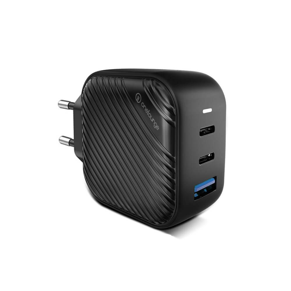 Быстрая GaN зарядка oneLounge 1Power 66W 2xUSB-C + USB-A для iPhone | MacBook | ноутбука