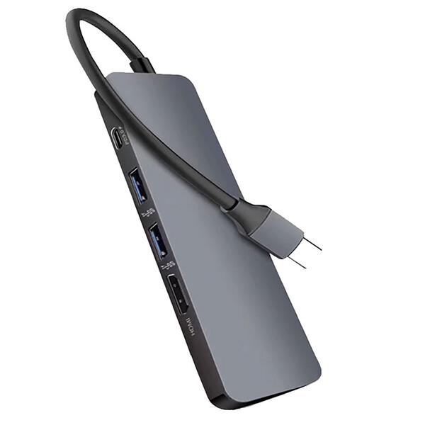 Многофункциональный хаб iLoungeMax 5 в 1 4K HDMI+Rj45+USB 3.1+USB-A+Type-C для MacBook