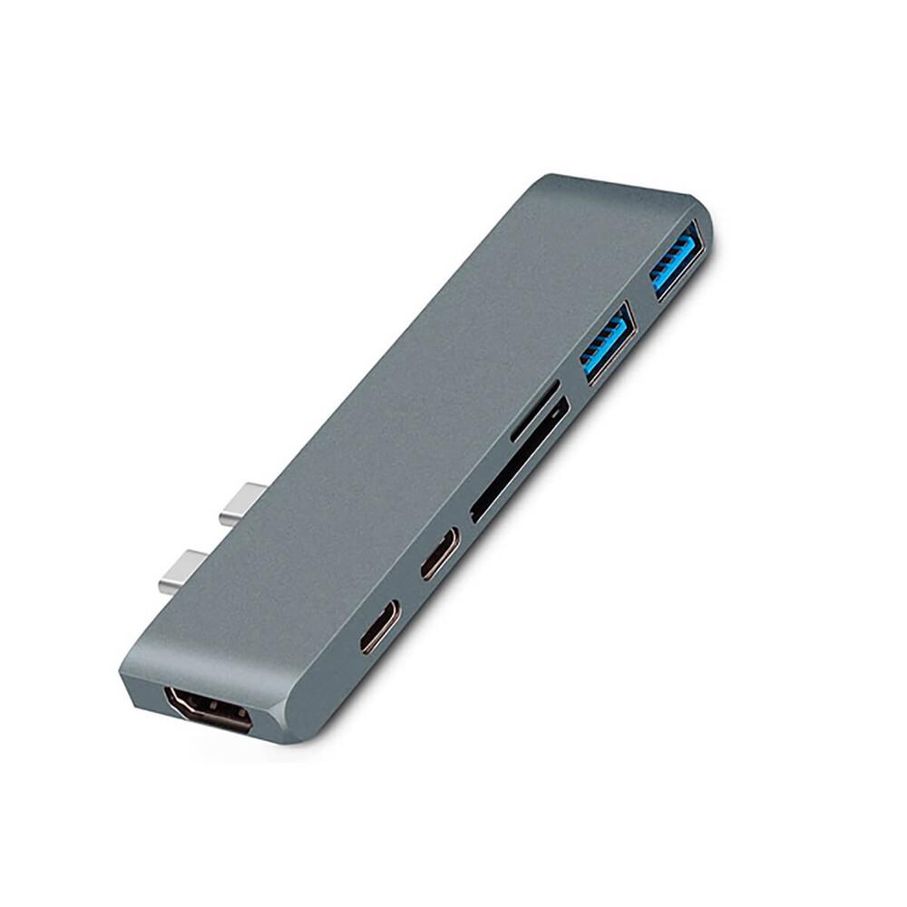 Хаб (адаптер) oneLounge 7-in-1 USB-C PD HDMI 4K30Hz для MacBook Space Gray