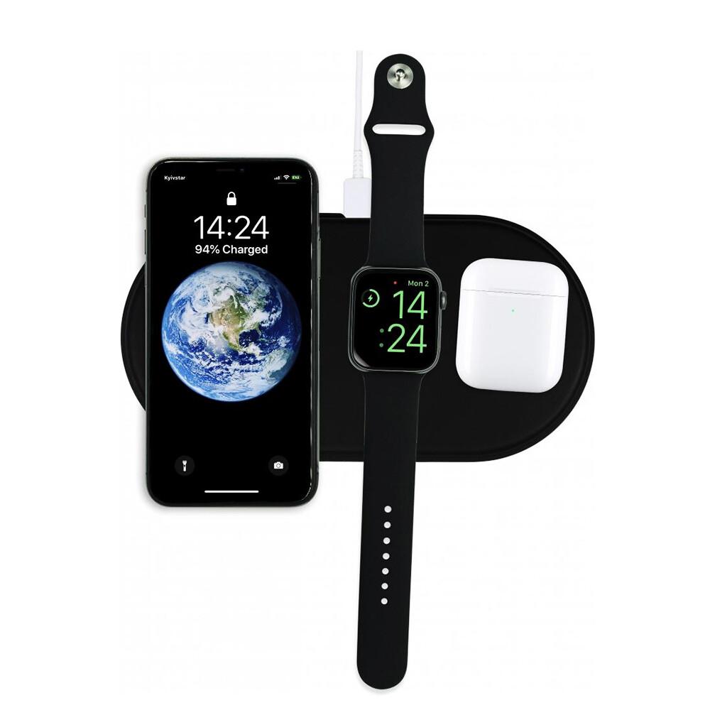 Беспроводная черная зарядка iLoungeMax AirPower Black для iPhone   Apple Watch   AirPods OEM