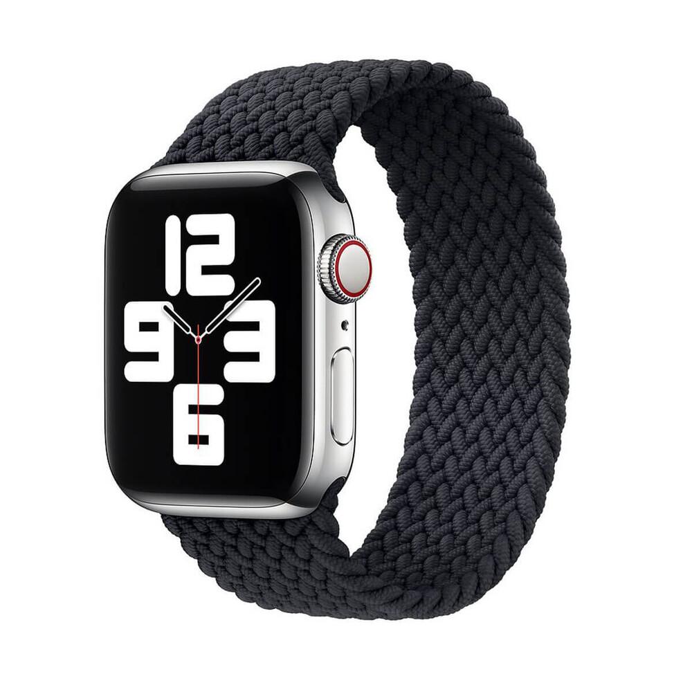 Плетеный монобраслет iLoungeMax Braided Solo Loop Charcoal Black для Apple Watch 44mm | 42mm Size L OEM