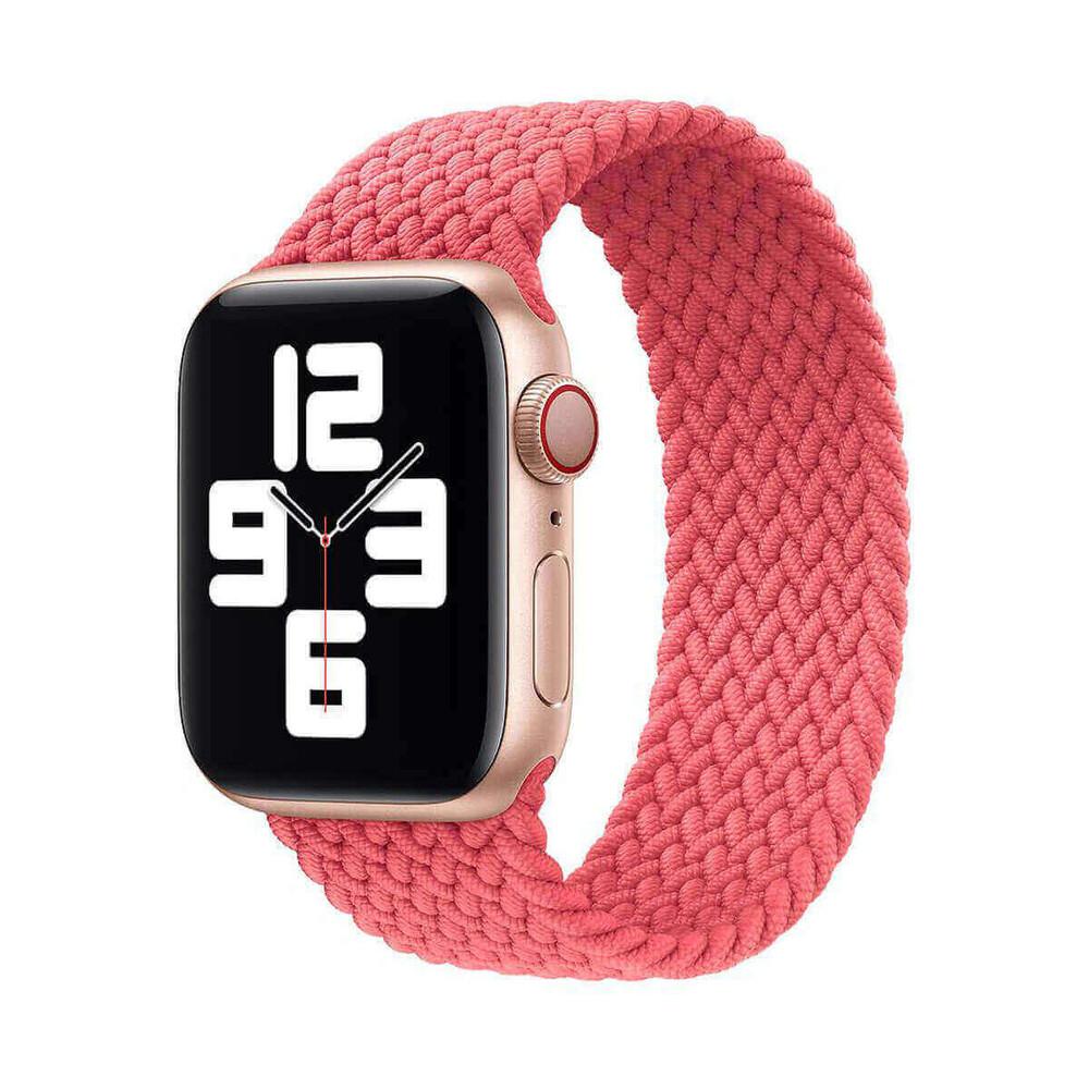 Плетеный монобраслет iLoungeMax Braided Solo Loop Pink для Apple Watch 40mm   38mm Size M OEM