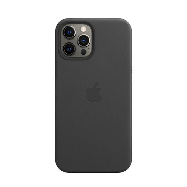 Кожаный чехол iLoungeMax Genuine Leather Case MagSafe Black для iPhone 12 Pro Max ОЕМ
