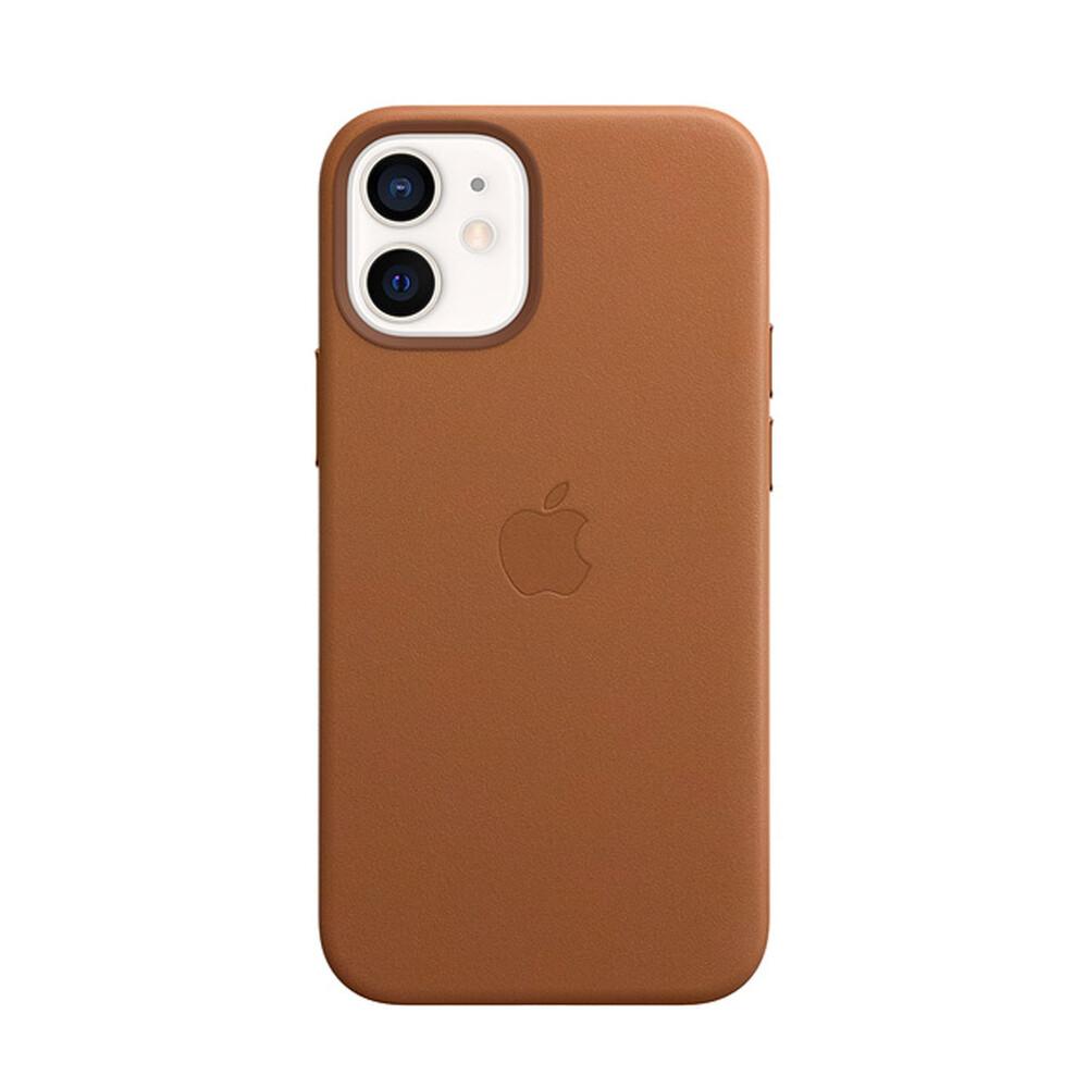 Кожаный чехол iLoungeMax Genuine Leather Case MagSafe Saddle Brown для iPhone 12 mini ОЕМ