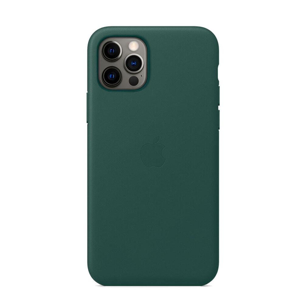 Кожаный чехол iLoungeMax Genuine Leather Case MagSafe Pine Green для iPhone 12 | 12 Pro ОЕМ
