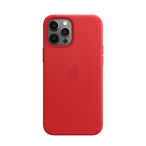 Кожаный чехол iLoungeMax Genuine Leather Case MagSafe Red для iPhone 12 Pro Max ОЕМ