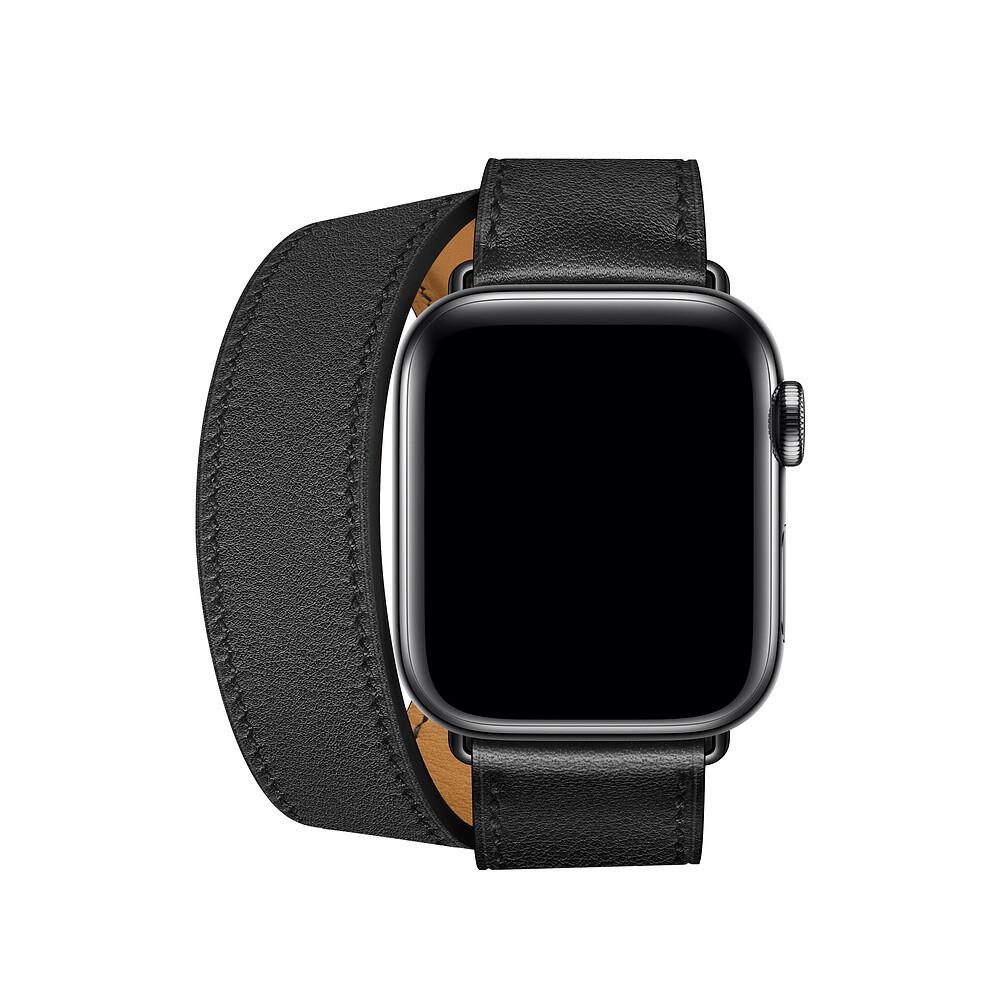 Ремешок oneLounge Hermès Leather Double Tour Noir для Apple Watch 42mm | 44mm SE | 6 | 5 | 4 | 3 | 2 | 1 ОЕМ