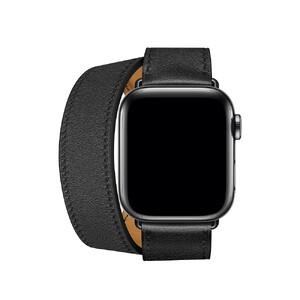 Купить Ремешок oneLounge Hermès Leather Double Tour Noir для Apple Watch 42mm/44mm SE/6/5/4/3/2/1 ОЕМ