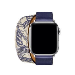 Купить Ремешок oneLounge Hermès Leather Double Encre/Béton для Apple Watch 42mm/44 mm Series 5/4/3/2/1 ОЕМ