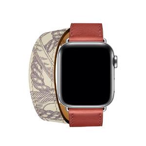 Купить Ремешок oneLounge Hermès Leather Double Tour Brique/Béton для Apple Watch 42mm/44 mm Series 5/4/3/2/1 ОЕМ