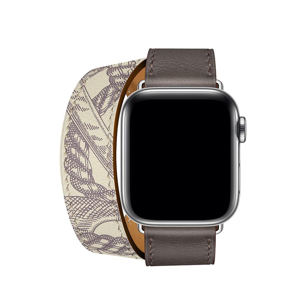Ремешок oneLounge Hermès Leather Double Tour Étain | Béton для Apple Watch 44mm | 42mm SE | 6 | 5 | 4 | 3 | 2 | 1 ОЕМ