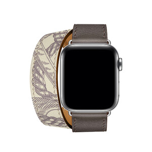 Купить Ремешок oneLounge Hermès Leather Double Tour Étain/Béton для Apple Watch 42mm/44 mm Series 5/4/3/2/1 ОЕМ