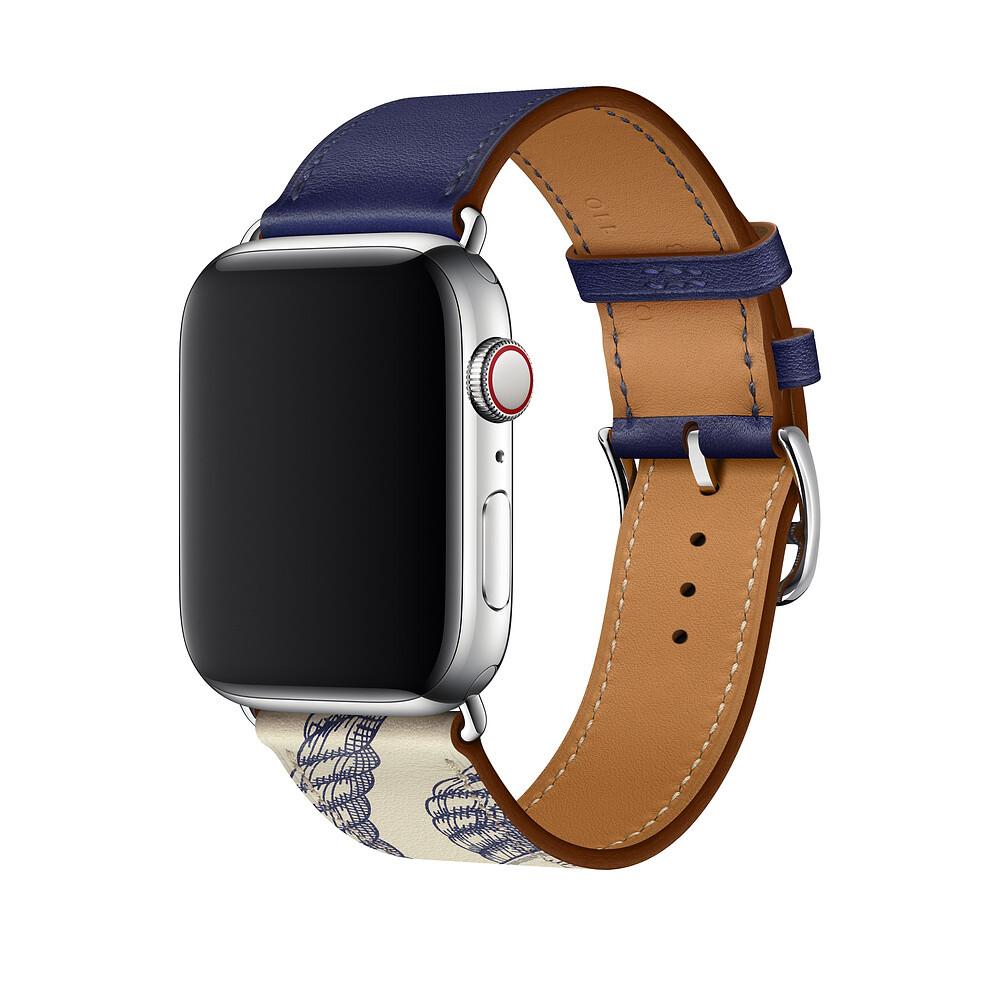 Ремешок iLoungeMax Hermès Leather Single Encre | Béton для Apple Watch 44mm | 42mm SE | 6 | 5 | 4 | 3 | 2 | 1 ОЕМ