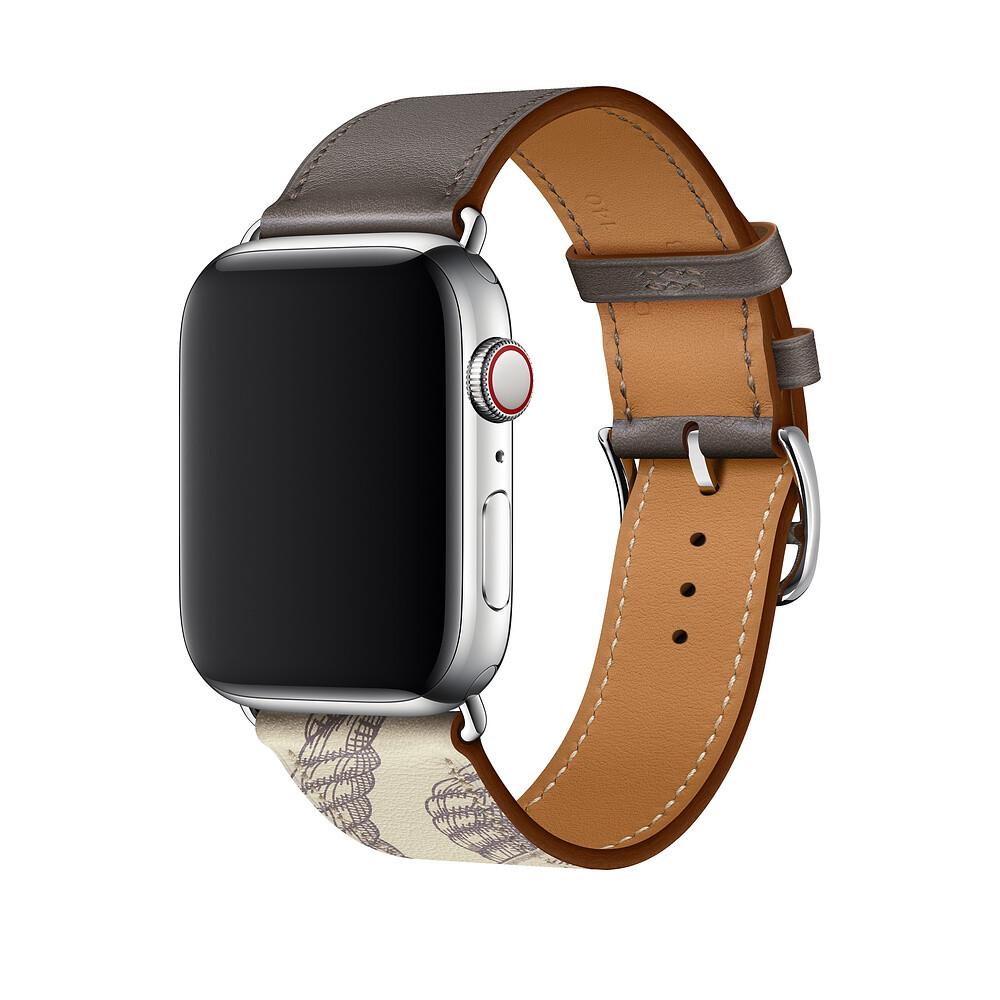 Ремешок iLoungeMax Hermès Leather Single Étain | Béton для Apple Watch 44mm | 42mm SE | 6 | 5 | 4 | 3 | 2 | 1 ОЕМ