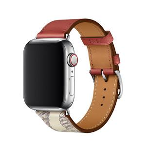 Купить Ремешок oneLounge Hermès Leather Single Brique/Béton для Apple Watch 42mm/44 mm Series 5/4/3/2/1 ОЕМ