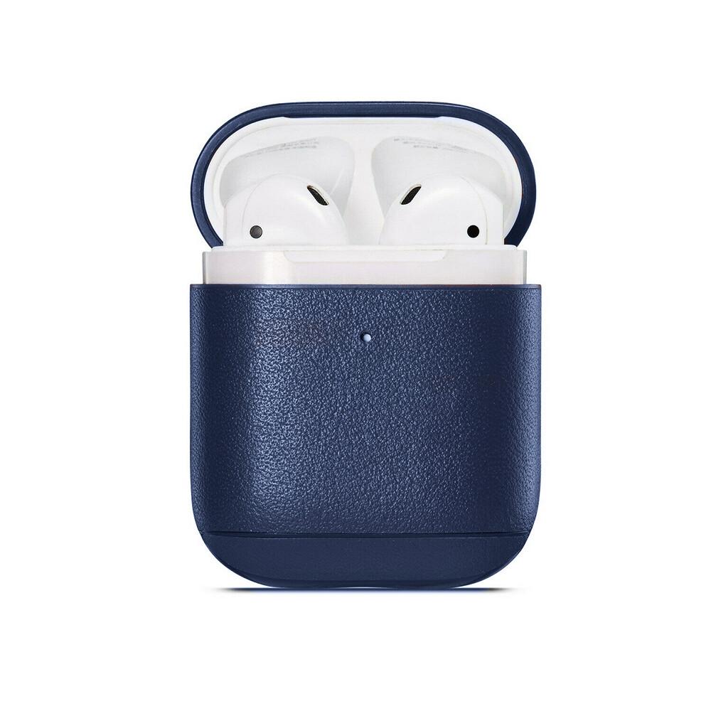 Кожаный чехол iLoungeMax Leather Case Blue для Airpods 2 | 1