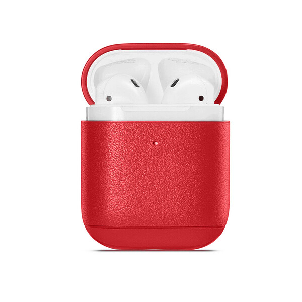 Кожаный чехол iLoungeMax Leather Case Red для Airpods 2   1