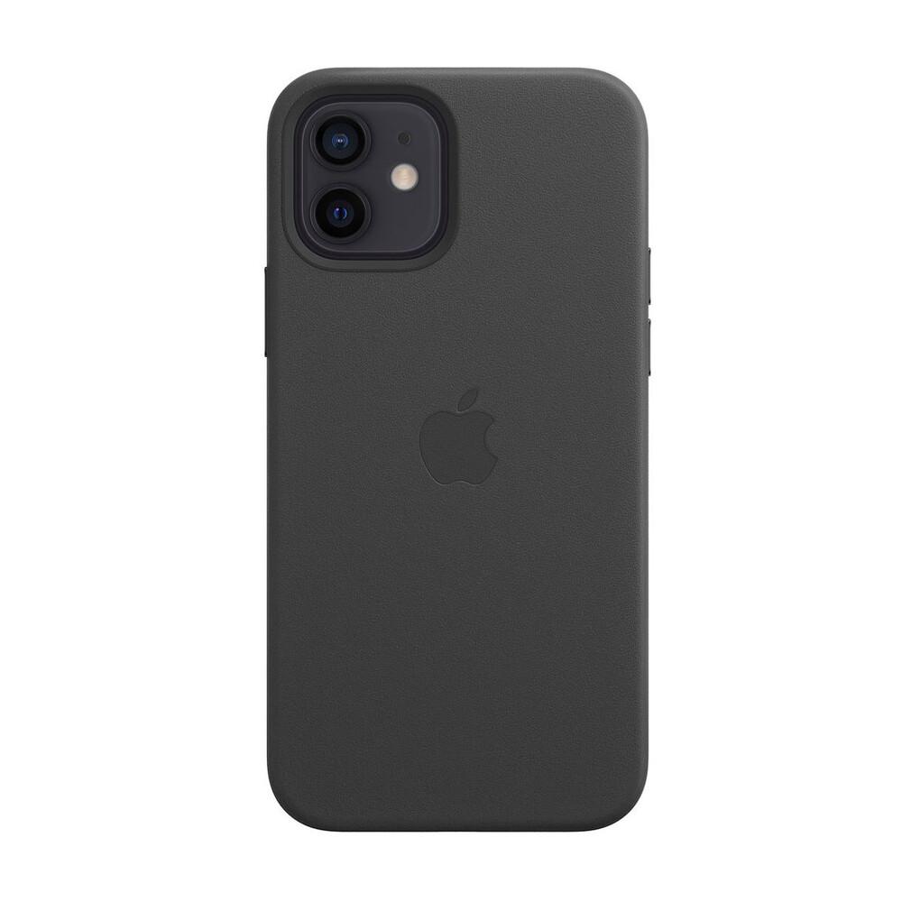 Черный кожаный чехол iLoungeMax Leather Case MagSafe Black для iPhone 12   12 Pro OEM (с поддержкой анимации)