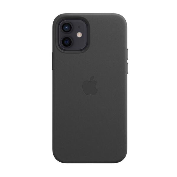 Черный кожаный чехол iLoungeMax Leather Case MagSafe Black для iPhone 12 | 12 Pro OEM (с поддержкой анимации)