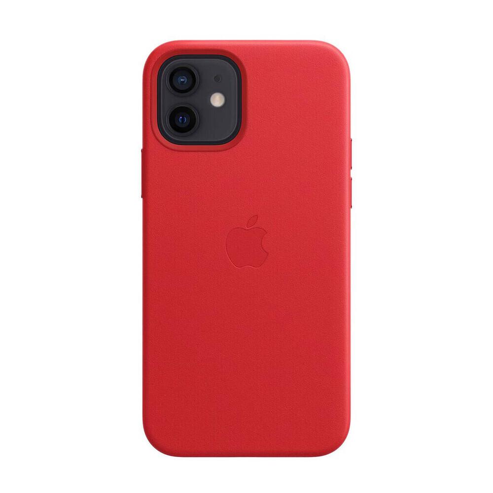 Кожаный чехол iLoungeMax Leather Case MagSafe Red для iPhone 12   12 Pro OEM (с поддержкой анимации)