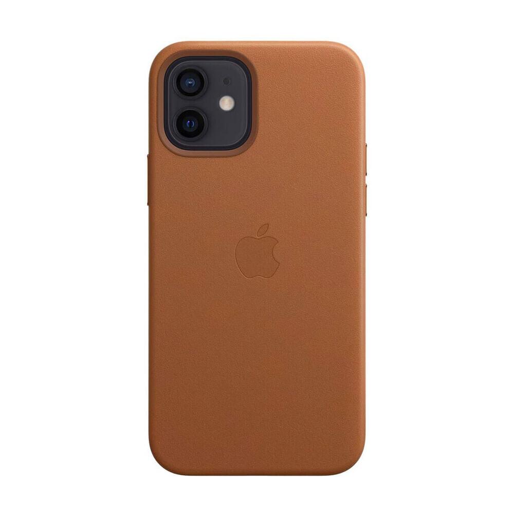 Кожаный чехол iLoungeMax Leather Case MagSafe Saddle Brown для iPhone 12 | 12 Pro OEM (с поддержкой анимации)