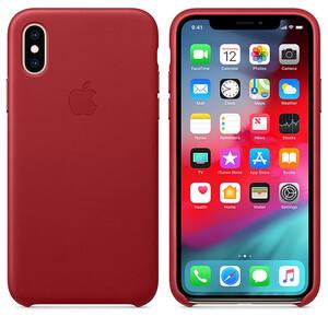 Кожаный чехол iLoungeMax Leather Case RED для iPhone X | XS OEM (MRWK2)