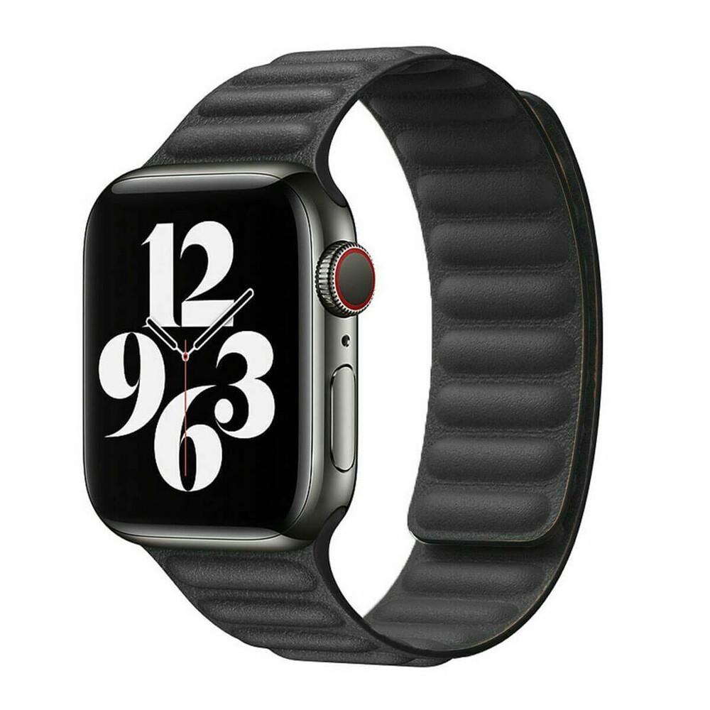 Купить Ремешок oneLounge Leather Link Magnetic Black для Apple Watch 42mm | 44mm (M | L) OEM