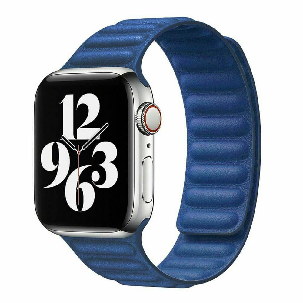 Ремешок iLoungeMax Leather Link Magnetic Baltic Blue для Apple Watch 42mm | 44mm (M | L) OEM