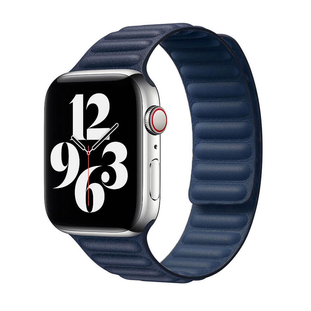 Ремешок iLoungeMax Leather Link Magnetic Midnight Blue для Apple Watch 38mm | 40mm (S | M) OEM