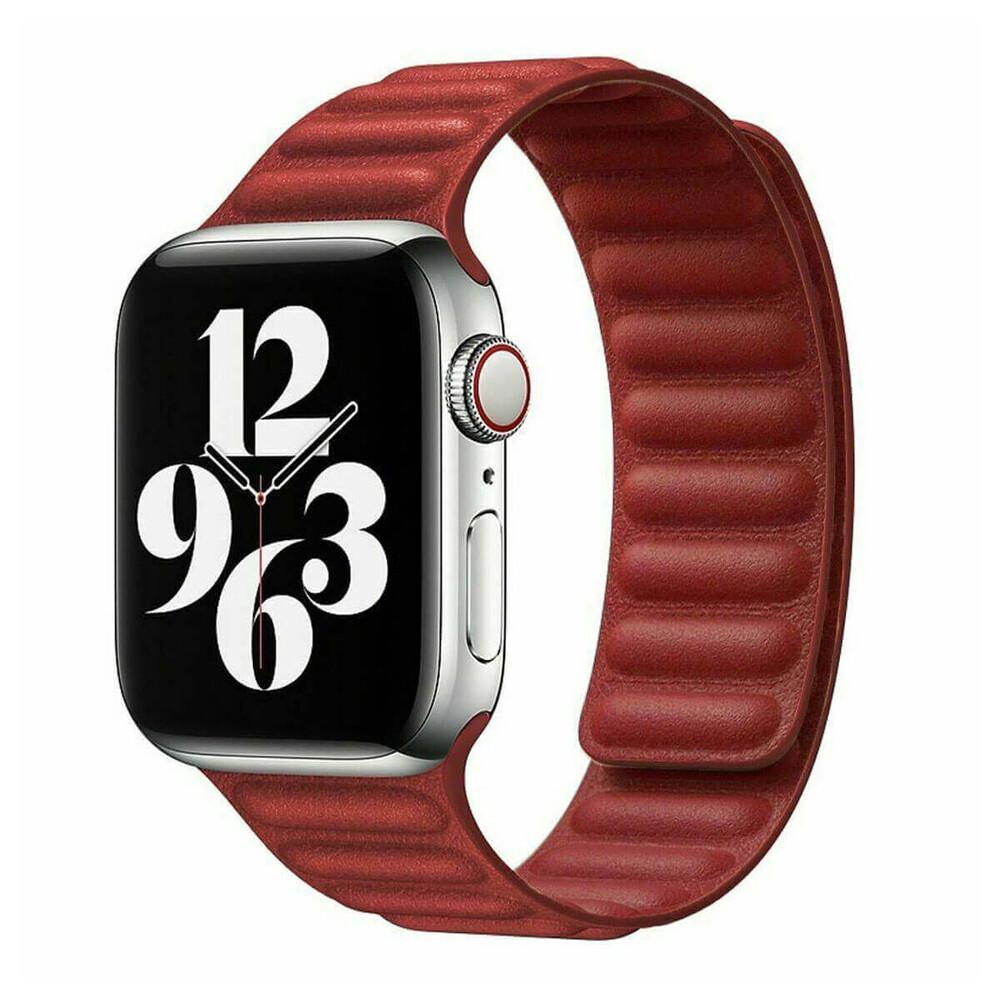 Ремешок iLoungeMax Leather Link Magnetic Red для Apple Watch 42mm | 44mm (M | L) OEM