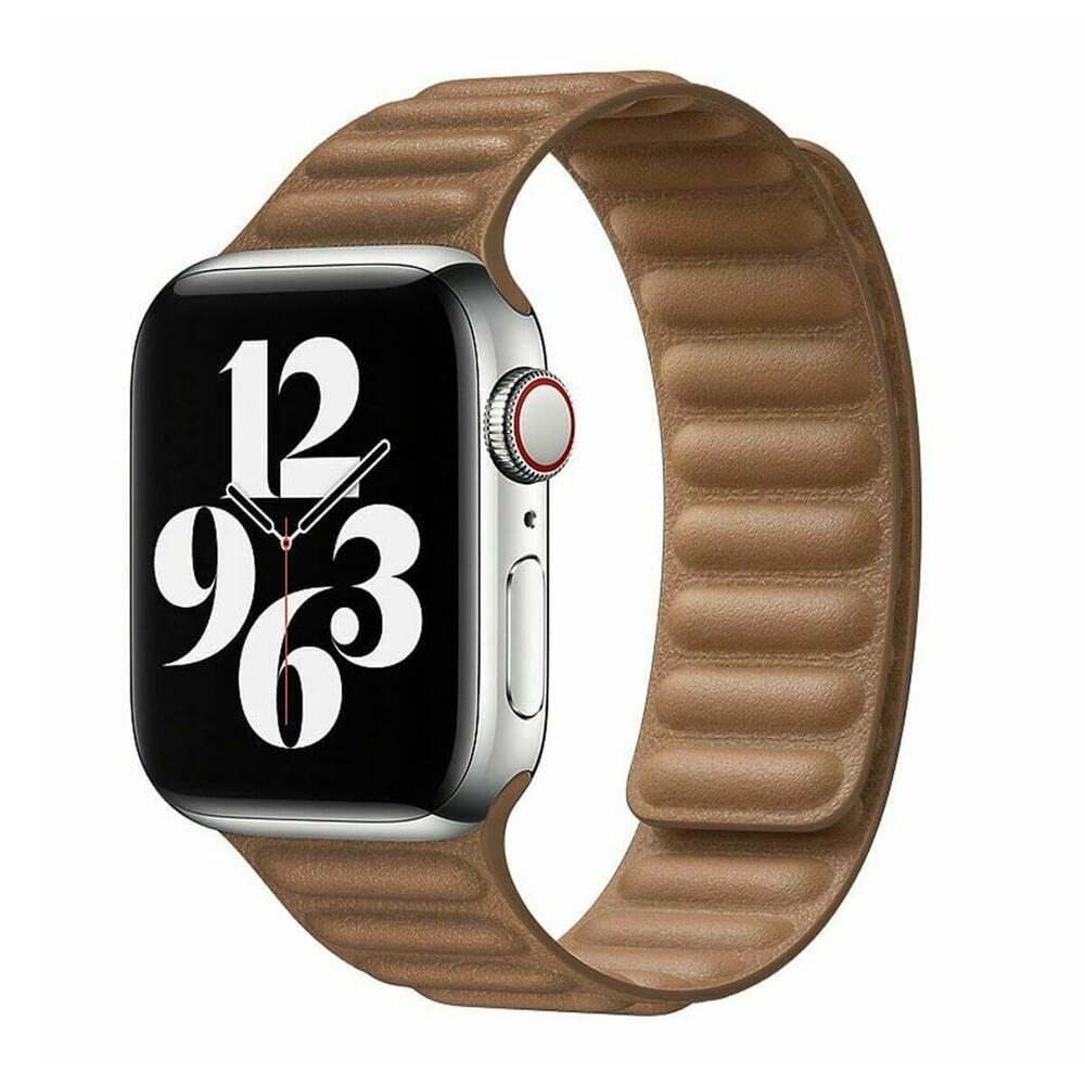 Ремешок iLoungeMax Leather Link Magnetic Saddle Brown для Apple Watch 42mm   44mm (M   L) OEM