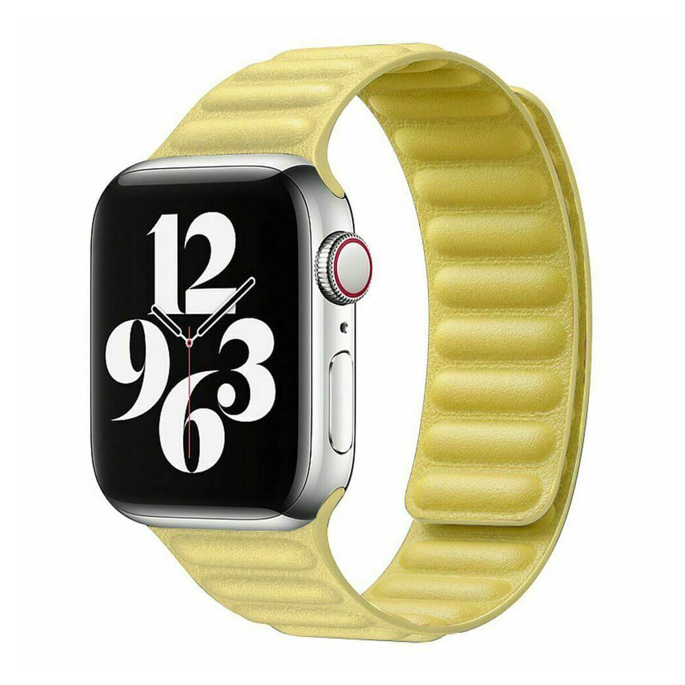 Купить Ремешок oneLounge Leather Link Magnetic Yellow для Apple Watch 38mm | 40mm (S | M) OEM