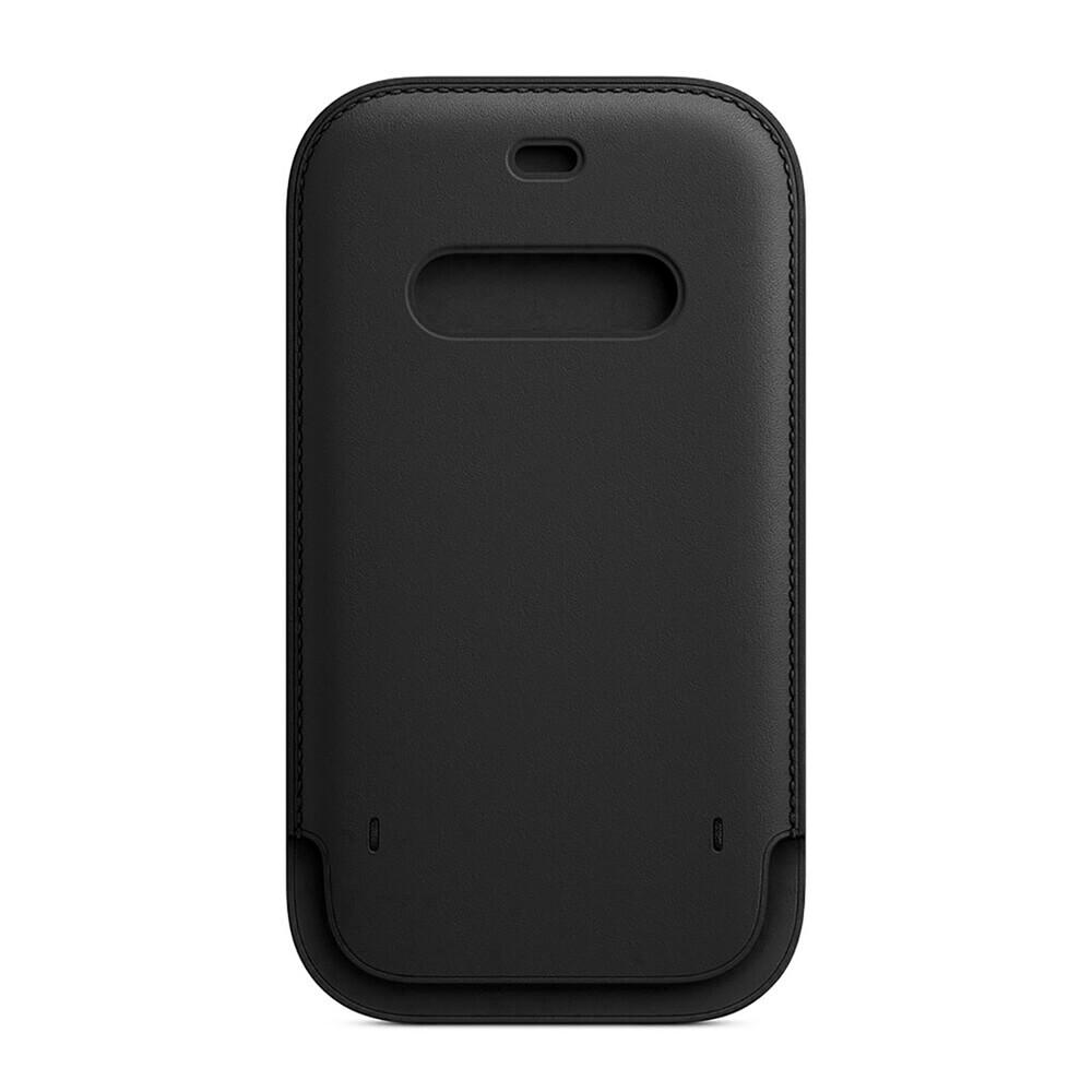Кожаный чехол-бумажник iLoungeMax Leather Sleeve with MagSafe Black для iPhone 12   12 Pro OEM
