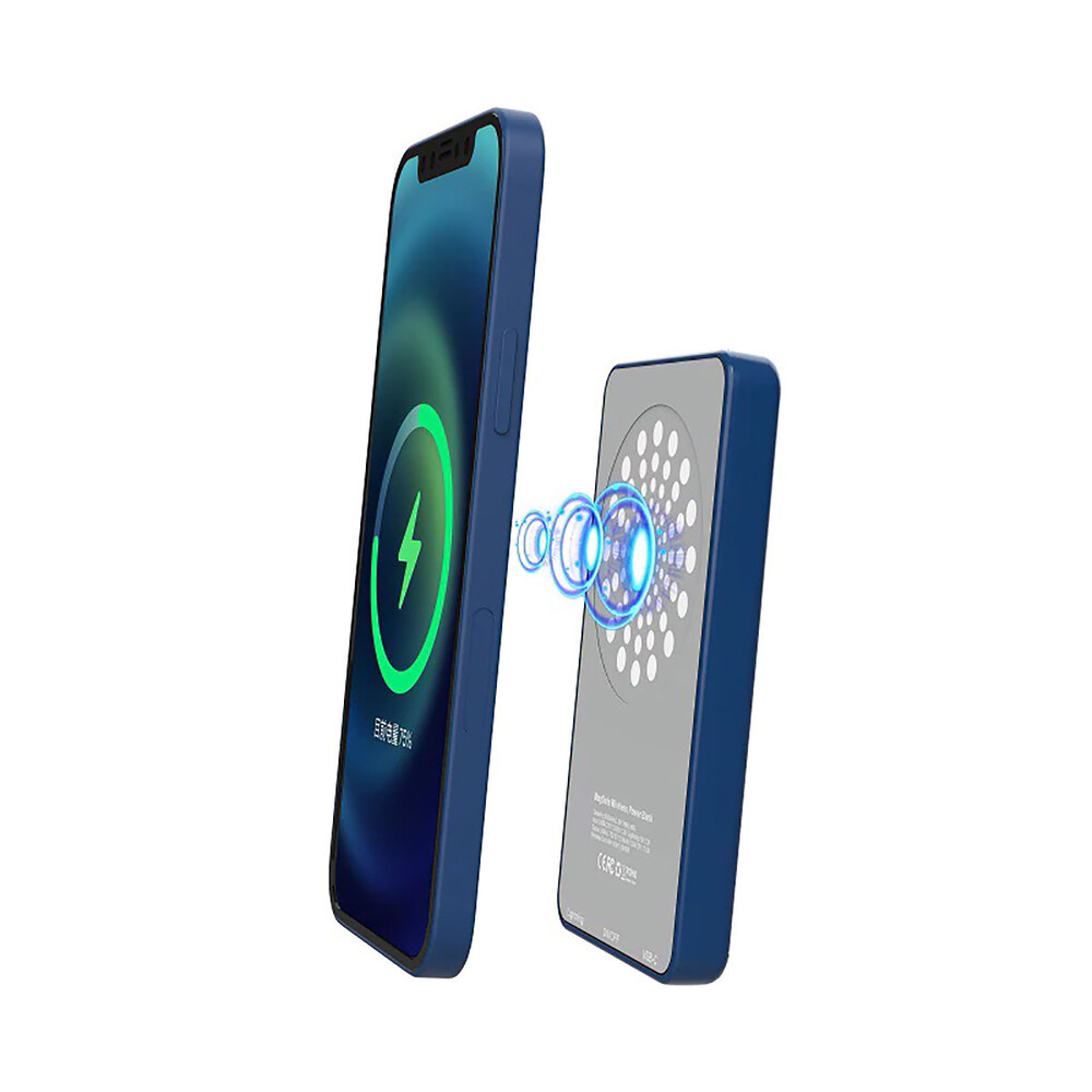 Купить Внешний аккумулятор с беспроводной зарядкой oneLounge MagSafe Wireless Charger Power Bank 5000mAh Blue (с поддержкой анимации)