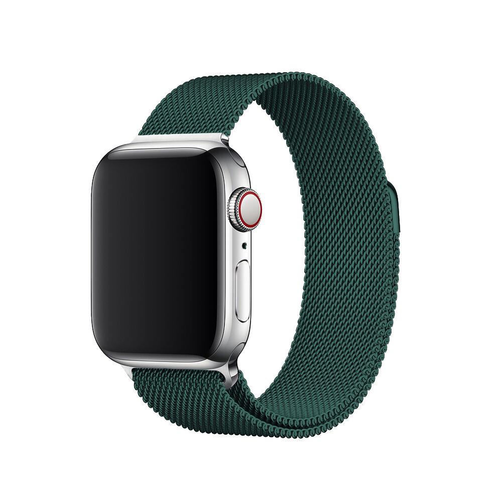 Ремешок iLoungeMax Milanese Loop Forest Green для Apple Watch 42mm   44mm SE   6   5   4   3   2   1