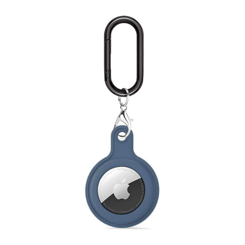 Силиконовый брелок c карабином iLoungeMax Soft Protection Case Clip Dark Blue для AirTag