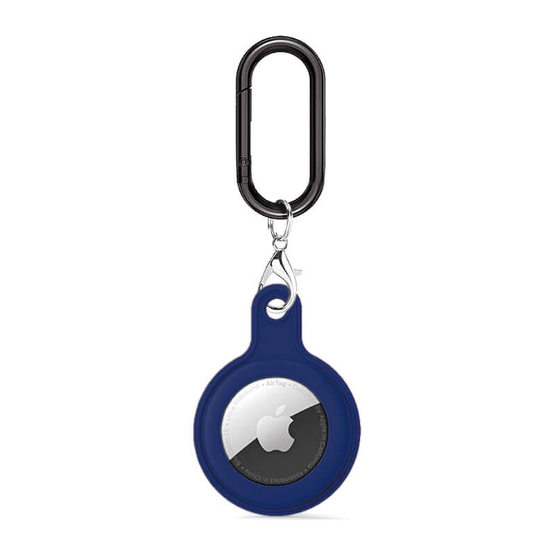 Силиконовый брелок c карабином iLoungeMax Soft Protection Case Clip Midnight Blue для AirTag