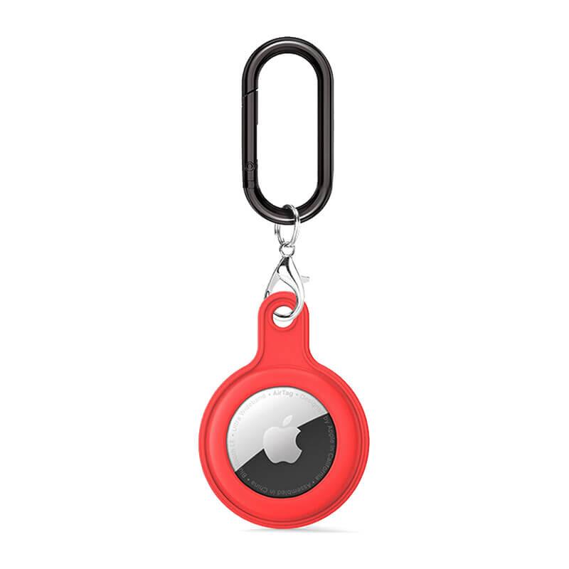 Силиконовый брелок c карабином iLoungeMax Soft Protection Case Clip Red для AirTag