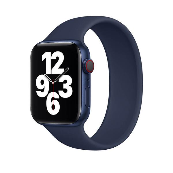 Силиконовый монобраслет iLoungeMax Solo Loop Midnight Blue для Apple Watch 44mm   42mm Size M OEM