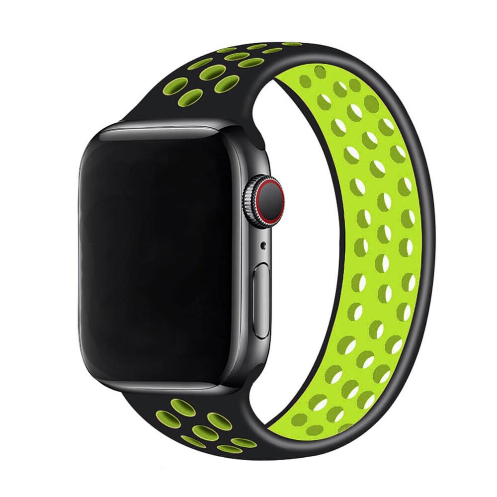 Силиконовый монобраслет iLoungeMax Solo Loop Nike Black | Green для Apple Watch 42mm | 44mm Size M