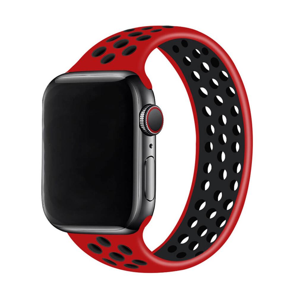 Силиконовый монобраслет iLoungeMax Solo Loop Nike Red | Black для Apple Watch 44mm | 42mm Size L