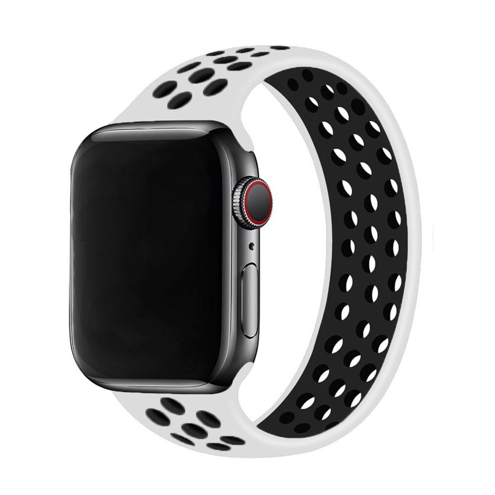 Силиконовый монобраслет iLoungeMax Solo Loop Nike White | Black для Apple Watch 44mm | 42mm Size L