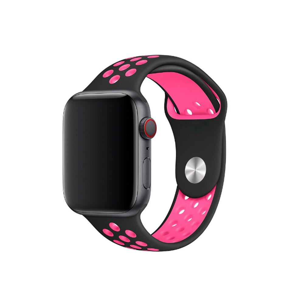 Ремешок iLoungeMax Nike Sport Band Black   Pink для Apple Watch 40mm   38mm SE   6   5   4   3   2   1 OEM