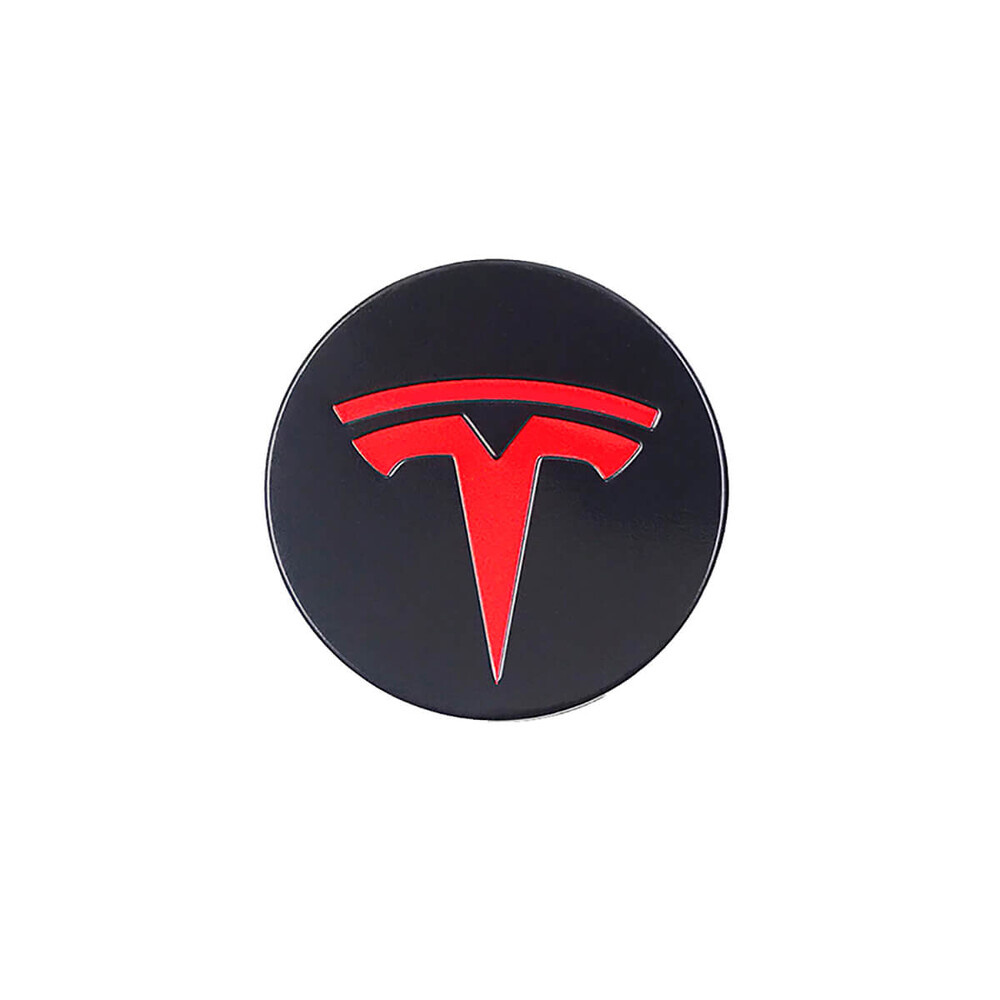 Купить Колпачки (заглушки) oneLounge на ступицы колеса TESLA Model X | S | 3 XWC1385-01 57 мм. Black / Red (4 шт.)