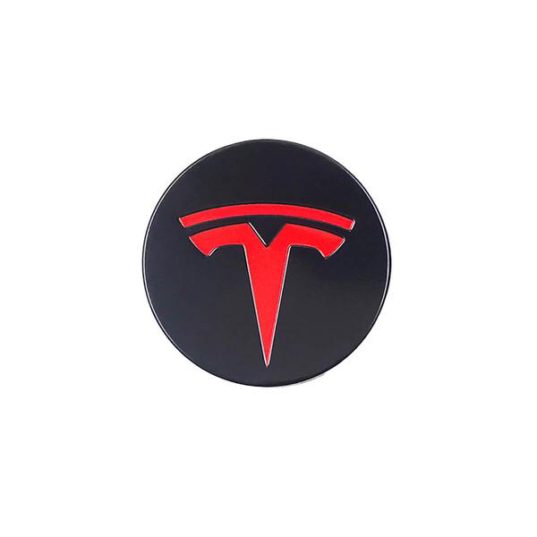 Колпачки (заглушки) iLoungeMax на ступицы колеса TESLA Model X   S   3 XWC1385-01 57 мм. Black / Red (4 шт.)