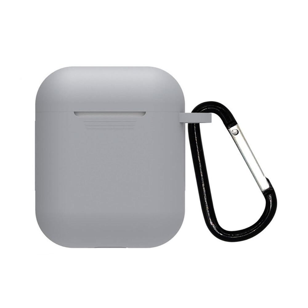 Серый силиконовый чехол с карабином iLoungeMax TPU Case Gray для AirPods 2 | 1