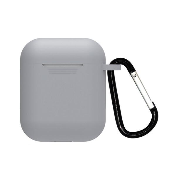 Серый силиконовый чехол с карабином iLoungeMax TPU Case Gray для AirPods 2   1