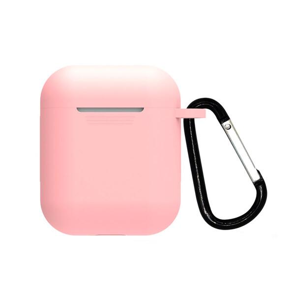Розовый силиконовый чехол с карабином iLoungeMax TPU Case Light Pink для AirPods 2   1